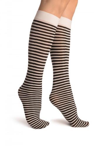 SO002724 Black and White Thin Stripes Socks Knee High