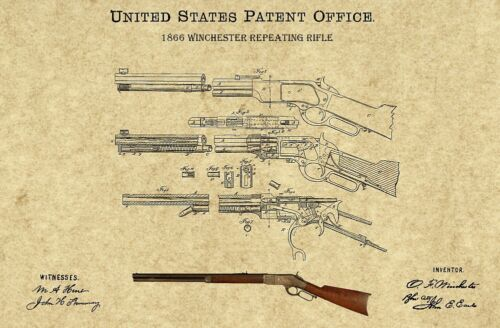 """Vintage 1866 Winchester Rifle US Patent Print Art Poster Laminated 17/"""" x 11/"""""""