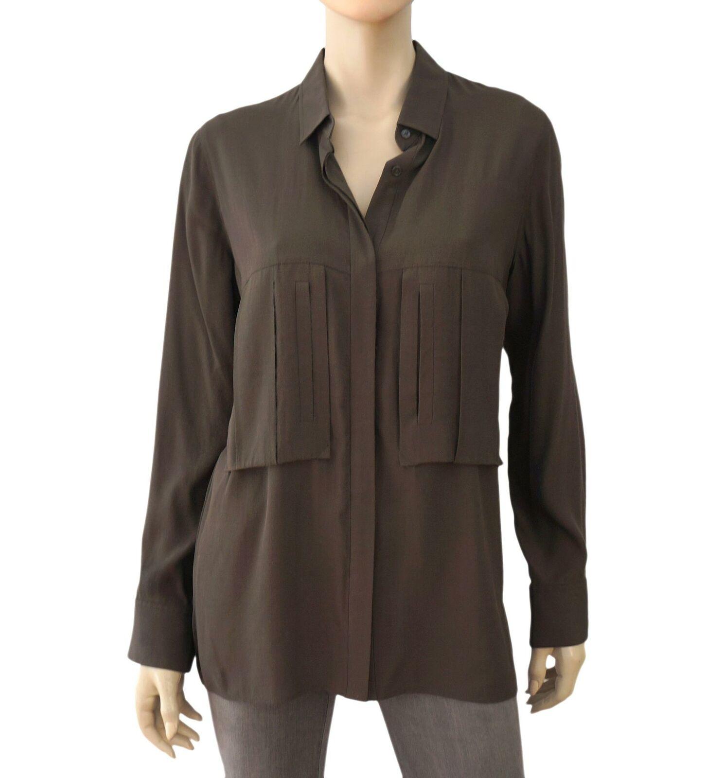 IRO Olive Grün Silk Crepe Ribbon Panel Blouse Shirt 42 US 10