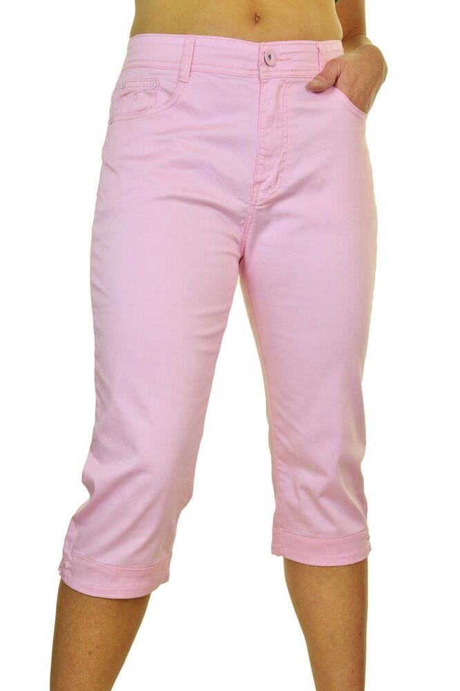 (1510-8) Strass Manchette Crop Jambe Capri Jeans Stretch Rose Pastel 14-24