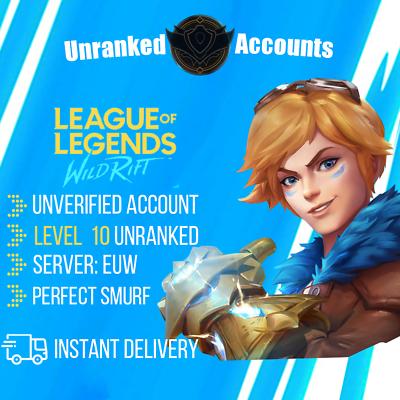 League of Legends Wild Rift account EUW level 10 Unranked ...