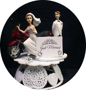 Bride Loving Red Bmw Motorcycle Wedding Cake Topper Bike