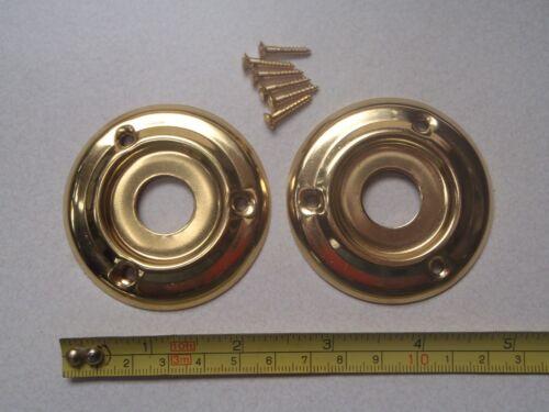 2 x 60 mm DIAMETER ANTIQUE STYLE BRASS DOOR KNOB BACK PLATE ROSES RIM LOCK.