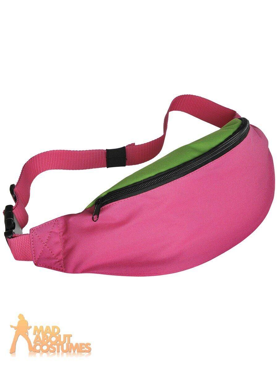 Amscan 80s Retro Hip Hop Bum Bag Pink and Green