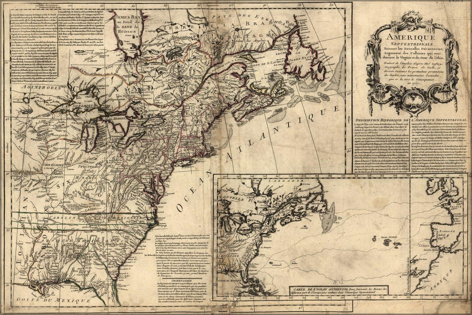 Plakat, Viele Größen; KKunste von Nordamerika vor Vereinigte Staaten 1757