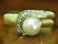 14kt 585 ORO ANELLO con diamante e AKOYA-Guarnizione in perle/5,0 G/RG 56