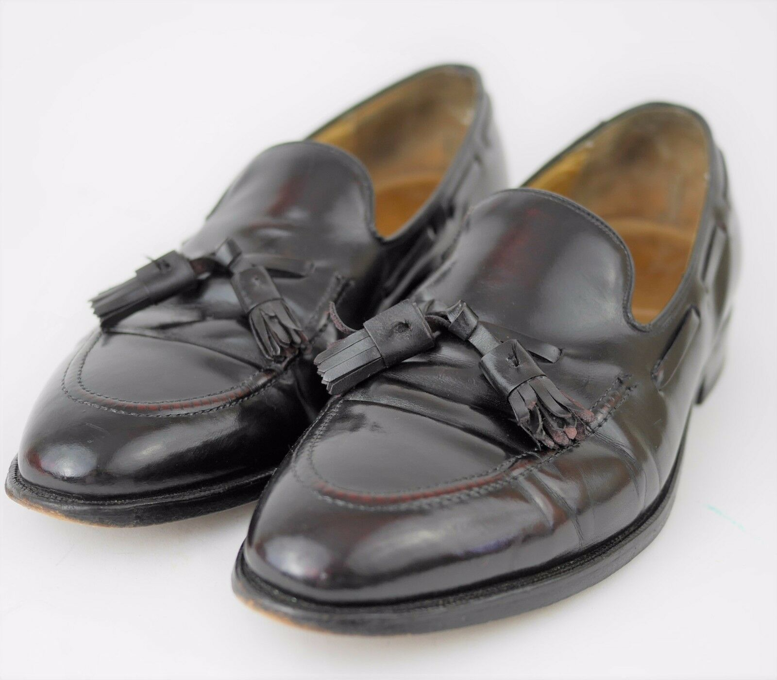 JOHNSTON & MURPHY Aristocraft Dark Brown Burgundy Leather Tassel Loafers MENS 10