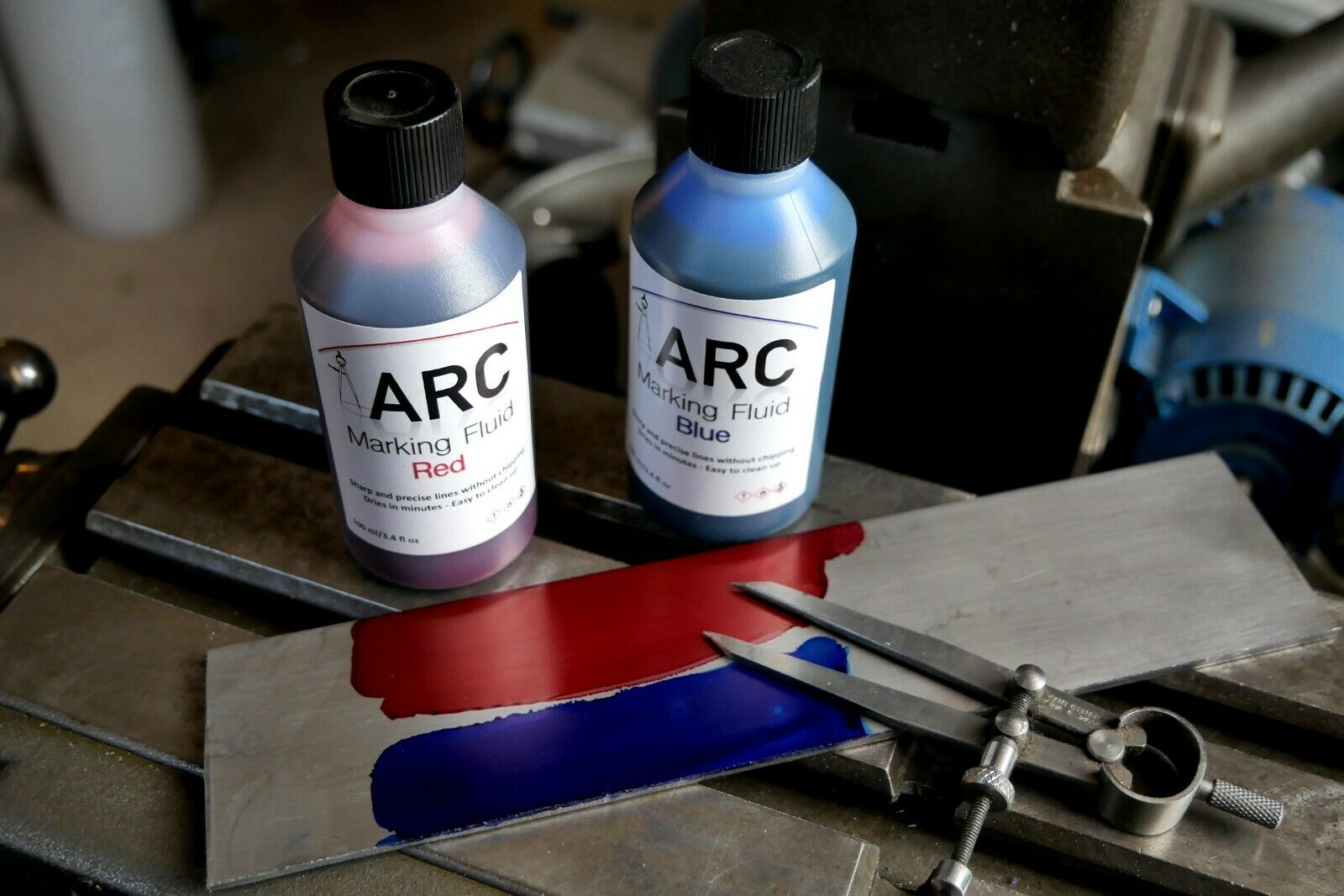 ARC Engineer's Marking/Layout Fluid Red and Blue available. 100ml with brush cap