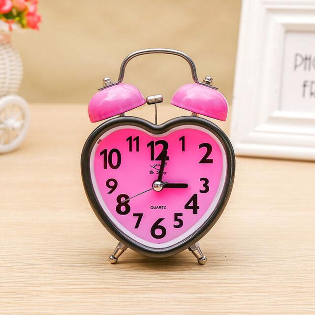 1Pc Bell Alarm Clock Heart Shape Double Bell Alarm Clock for Kids Girls  Bedroom