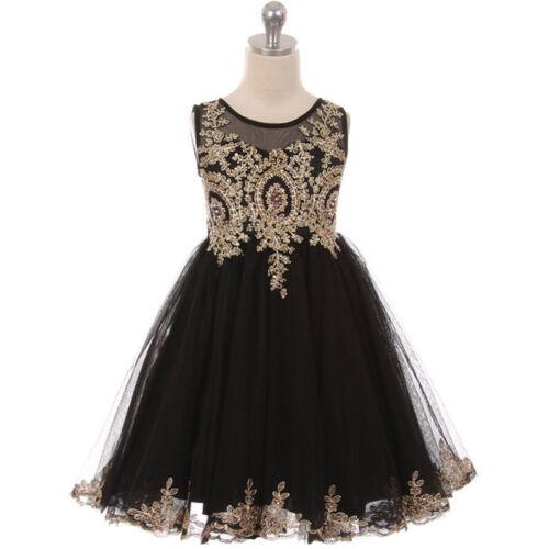 BLACK Flower Girl Dress Prom Pageant Dance Graduation Bridesmaid Formal Wedding