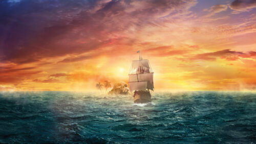 Artwork Pirates Ship Boat Oil Painting Printed On Canvas Home Art Wall Decor p74