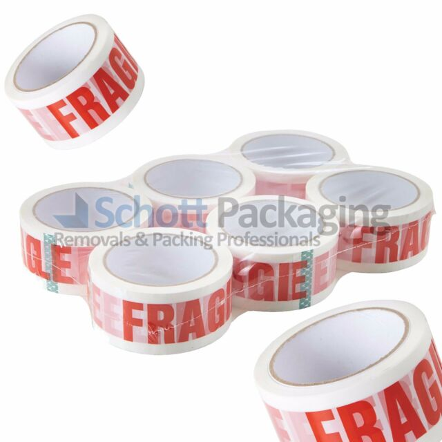 36 ROLLS OF FRAGILE PACKING PARCEL TAPE 48mm x 66M