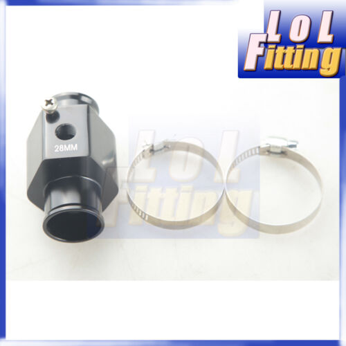 "28mm 1//8/"" NPT Water Temperature Sensor Adapter Gauge Radiator Adapter and Clamps"
