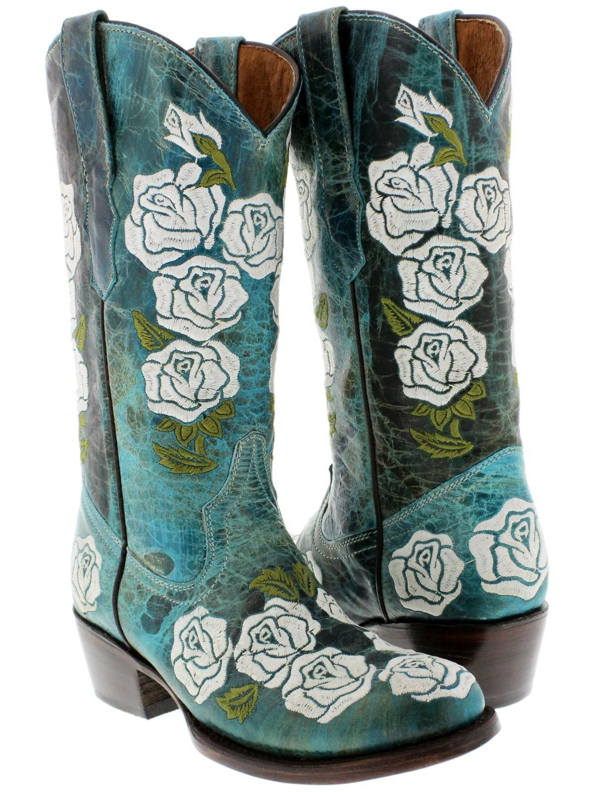 damen Turquoise Distressed Leather Cowgirl Stiefel Floral Rosa Rosa Rosa Embroiderot Round 067fcc