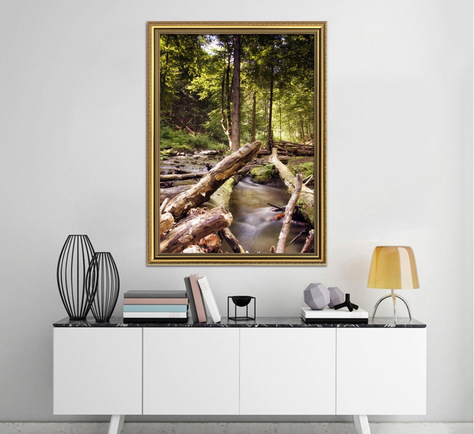 Bosque árboles 3D 2 Póster Enmarcado Creek Decoración del Hogar Pintura de Impresión Arte AJ Wallpaper