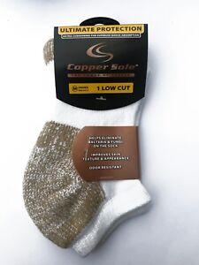 Ultimate Protection Copper Sole Low Cut White Socks Unisex Medium 1-pack  U.S.A.