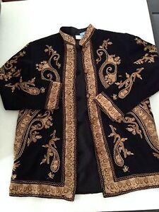 Wear Veste Surroundings noire Art Hippie Chic Funky rétro brodée Soft 58qxwd5
