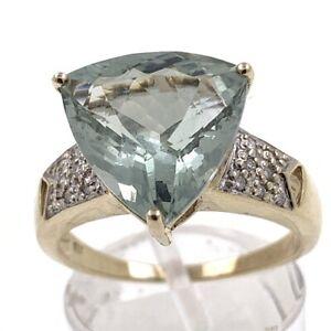 Anello-Donna-Di-9-Ct-Oro-Con-6-CT-Prasolith-E-0-27-CT-Diamanti-TG-60-Eu
