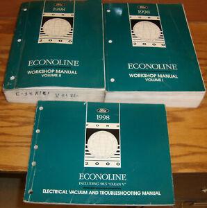 1998 Ford Econoline Van Shop Service Manual 1 & 2 + EVTM ...