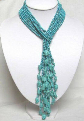 """50"""" 4MM Beautiful 4 Rows Turquoise Necklace"""