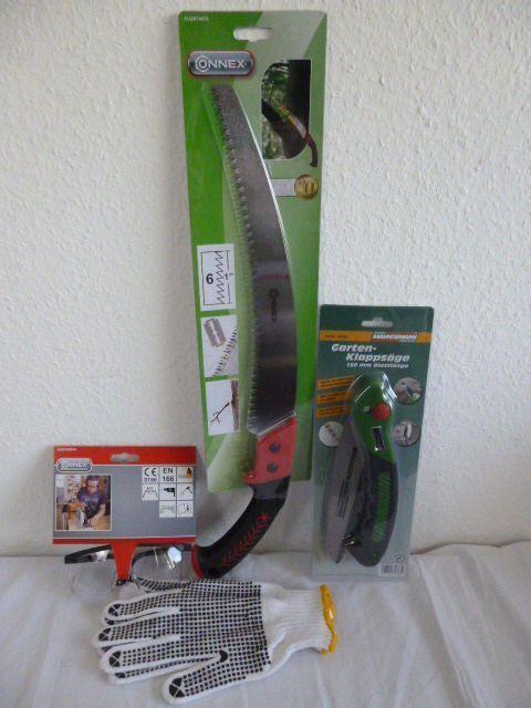 Connex Set Spezialzahnung 320mm Astsäge +Handschuhe Gr10+Klappsäge+Schutzbrille