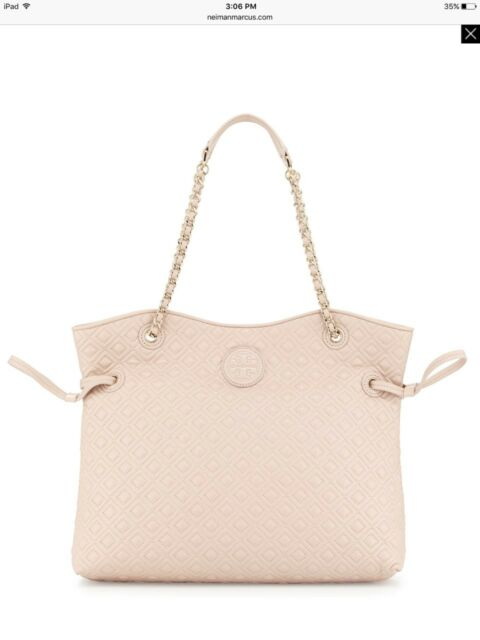 Auth Tory Burch Marion Quilted Slouchy Tote Bag Handbag Light Oak Ebay