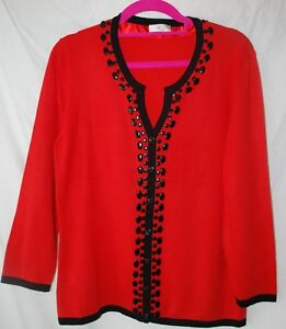 Country-Casuals-CC-Cardigan-Size-10-12-Red-Black-beaded