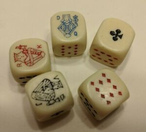 Lot-of-5-Vtg-Dice-with-Playing-Cards-Design-Poker-Dice-B7