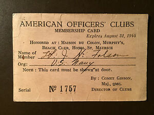 Details about 1944 American Officers' Clubs Membership card - U S  Navy