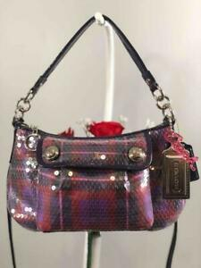 NWT-COACH-Poppy-Berry-Purple-with-Clear-Sequin-Convertible-Crossbody-Bag-16048