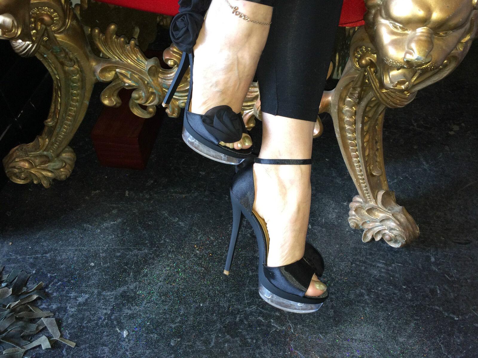 * réduit * black silk rose détail ankle-strap sandals-see-through plateforme talon de 6