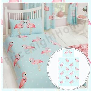 fifi flamant rose set housse de couette simple literie pois rose bleu ebay. Black Bedroom Furniture Sets. Home Design Ideas