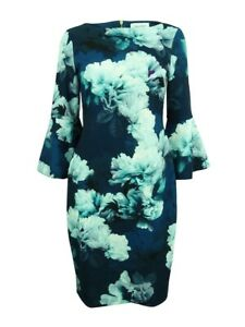 Calvin-Klein-Women-039-s-Floral-Print-Bell-Sleeve-Sheath-Dress