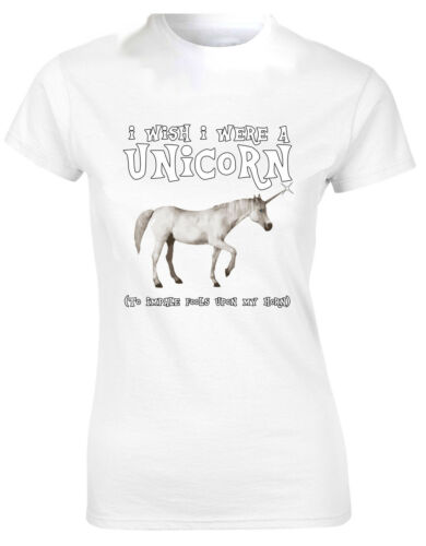 I Wish I Were A Unicorn To Impale Fools Upon My Horn Ladies Tshirt Tee Top AF03