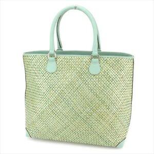 734665813202 Image is loading Salvatore-Ferragamo-Tote-bag-Green-Leather-Straw-Woman-