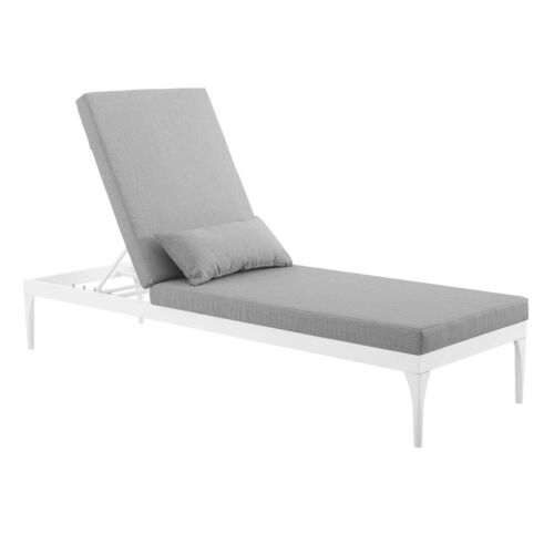 Modway Perspective Cushion Outdoor Patio Chaise Lounge Chair - White Gray 889654009603