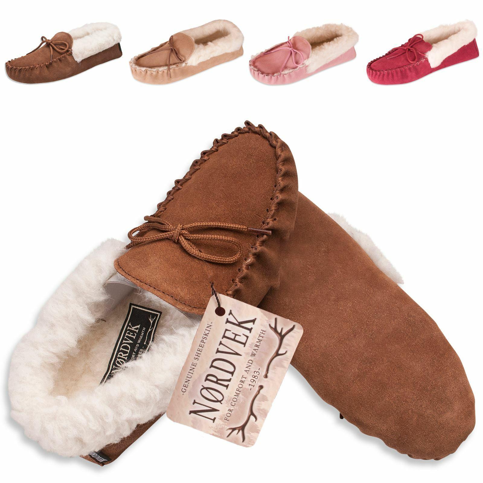 Nordvek - Pantoufles pour femme - peau de mouton/laine - semelle souple en su�de