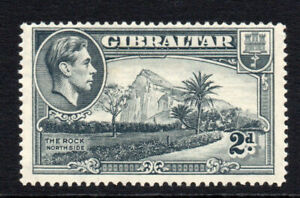 Gibraltar-2d-Grey-Stamp-c1938-51-Perf-14-Mounted-Mint-Hinged-3017