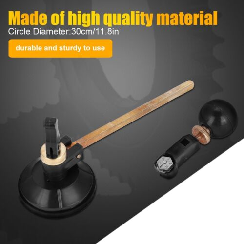 1x Professional Glass Cutter Precision Tool with Suction Cup Circle 6 Wheel
