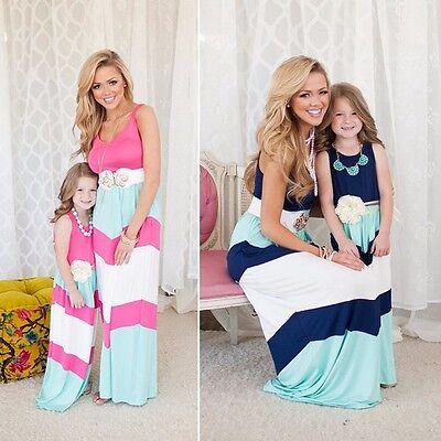Summer Family Clothes Mother Daughter Dresses Womens Kids Girls Long Maxi Dress