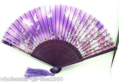 """SILK HAND FAN Purple 8"""" Folding Pocket Purse Asian Japanese NEW Butterfly Fabric"""