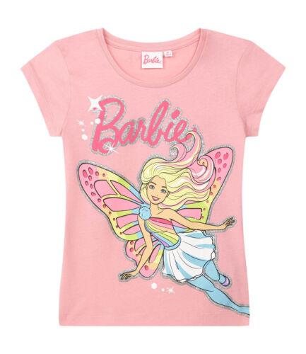 Girls Kids Official Barbie Pink Short Sleeve T Shirt Top