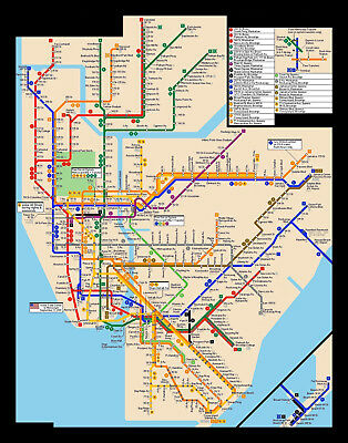 Large Ny Subway Map.Large Framed Print New York City Subway Map Picture Poster Tube Underground Ebay