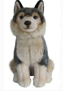 Plush-GREY-WOLF-Stuffed-Collectible-Animal-Cute-Christmas-Gift-Present-Toy