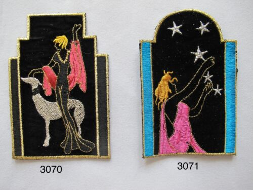 Black,Blue Lady w//Dog,Lady /& Star Screen Embroidery Iron On Appliques Patch