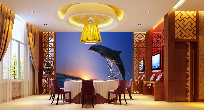 3D Sunset Sea Dolphin Jump Wall Paper Wall Print Decal Wall AJ WALLPAPER CA
