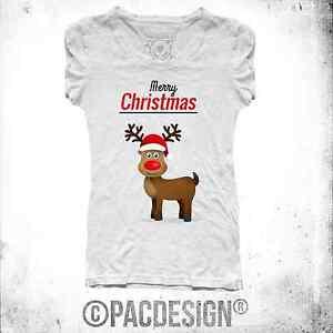 T-SHIRT DONNA RENNA RUDOLF CHRISTMAS NATALE REGALO VINTAGE SO HAPPINESS NE0115A