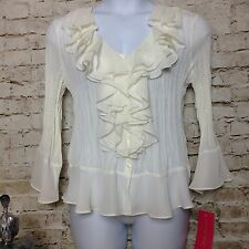 GORGEOUS! Sunny Leigh XL Ivory Ruffles Sheer Crinkle Flare Shirt Top Blouse NWT