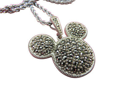 Judith Jack Mickey Mouse Sterling Silver Necklace Disney Marcasite 18 inch 826g
