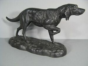 Dog-Hunting-a-L-Stop-Antique-Sculpture-Animals-in-Controls-Signed-Demange
